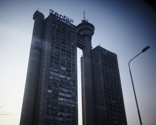 Genex tower. The cylindrical element in the summit had to be a revolving restaurant. It has never opened. Belgrade.