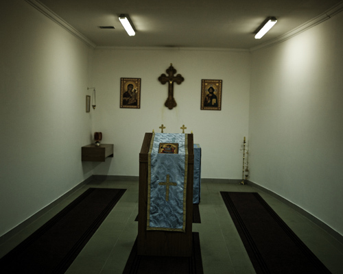 Chapel of the Padinska Skela maximum security prison. Beograd outskirts.The facility is one of the latest built and is housing around 150 prisoners in good conditions. The average sentence is around 20 years, the minimum being 15 years and the maximum up to 40 years. Crimes committed by the detainee are of a wide range: organized crime, rape, murder, conspiracy.