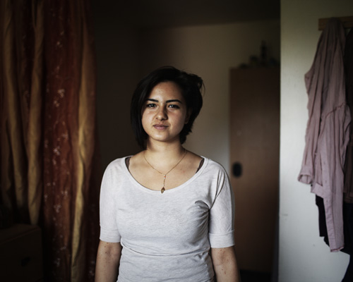 """Reception center for asylum seekers, Roissy-en-Brie, France. """"I was born in prison, my mother served six and a half years because she was a member of the Communist Labor Party. I grew up inside until I was one and a half year old. I studied mechanical engineering for one year in Aleppo, then I moved back to Damascus because it was too dangerous. It also became too dangerous... After getting an authorization from the French consulate in Beirut, my father and I went to Lebanon. My mother had to join us by another way... Those few hours where we were apart felt like hell."""" Abo Hajar life's summary. - Romeo and Juliet."""