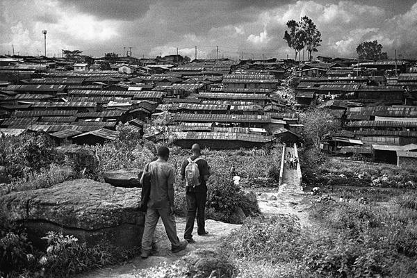 Bidonville de Kibera, vu depuis le sud.