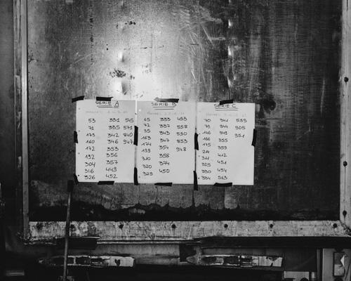 Listes des grilles de courses. Anglefort, Ain, Août 2015.
